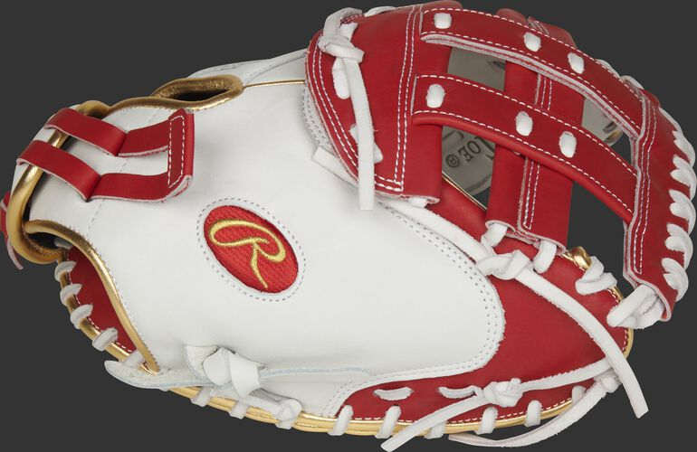 Thumb of a white RLACM33FPS Liberty Advanced Color Series 33-inch catcher's mitt with a scarlet H web
