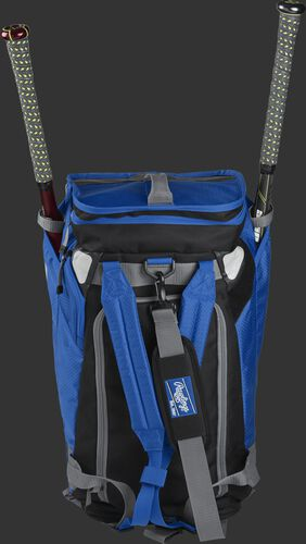A royal R601 Rawlings Hybrid duffel/backpack standing up with two bats