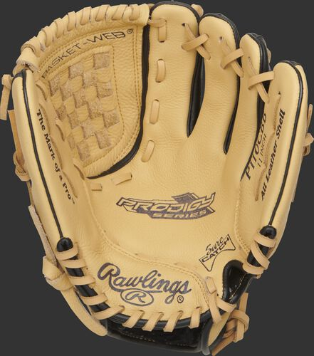P110CBB Rawlings Prodigy youth glove with a camel Sure Catch palm and camel laces