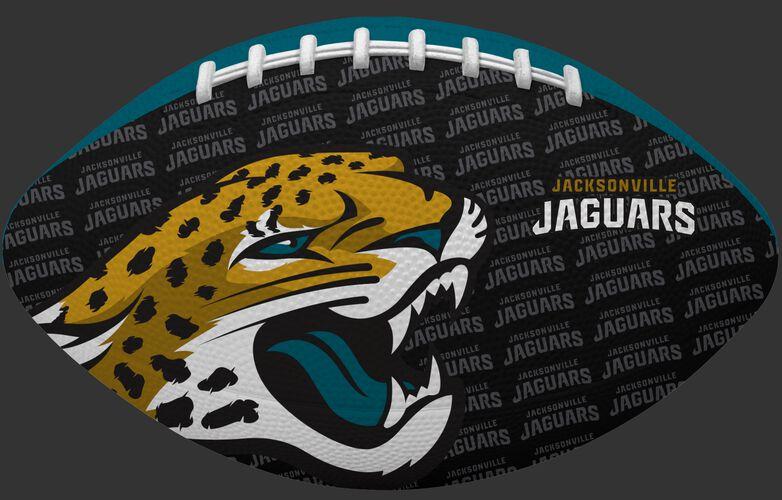 Black side of a NFL Jacksonville Jaguars Gridiron football with the team logo