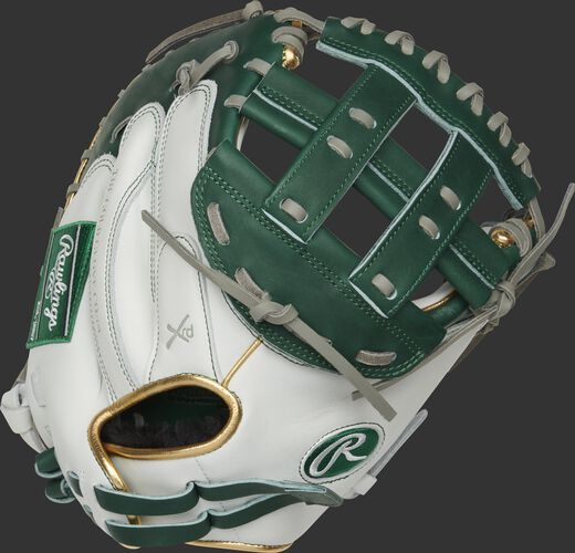 RLACM33FPDG 33-inch Liberty Advanced catcher's mitt with a white back, gold binding/welting and adjustable pull strap