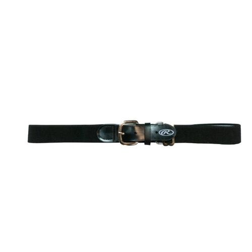Front of Rawlings Black Youth Adjustable Elastic Baseball Belt- SKU #BLTY-BLK