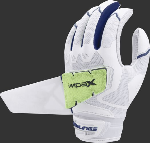 A white/navy FPWPBG-N women's Rawlings Workhorse batting glove with the Impax pad attached to the back