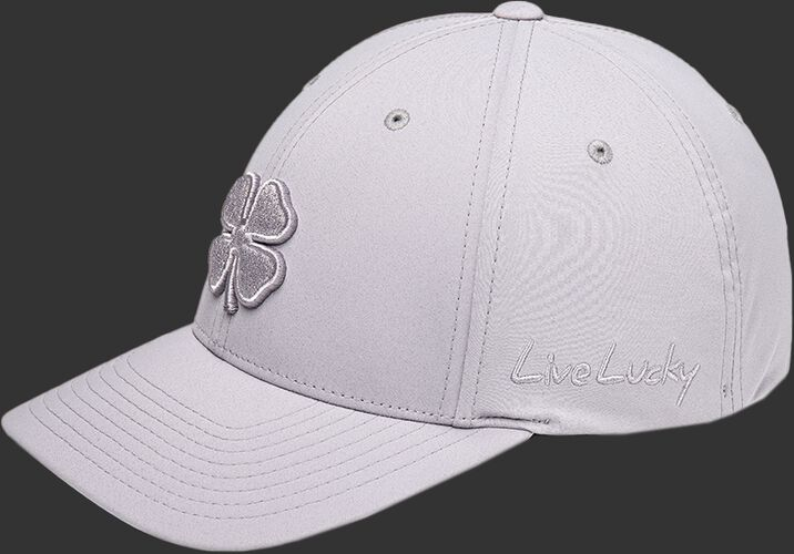 """Side of a Rawlings Black Clover Platinum hat with """"Live Lucky"""" on the side - SKU: BCR1P0071"""