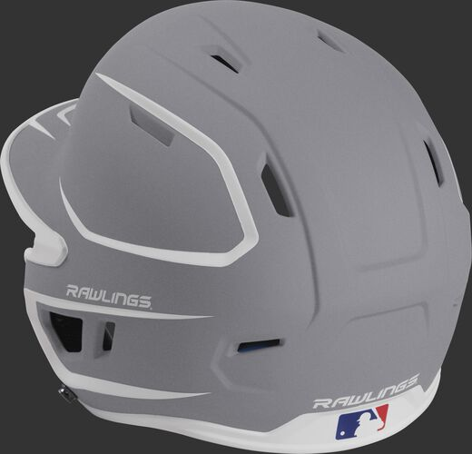 Back left view of a matte silver/white MACH series batting helmet with air vents