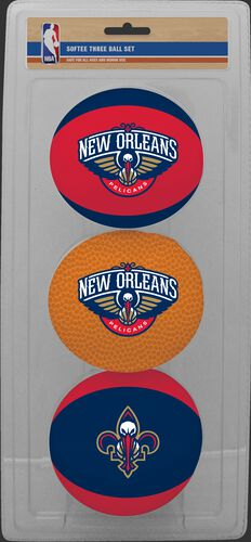 Rawlings Red, Brown, and Navy NBA New Orleans Pelicans Three-Point Softee Basketball Set With Team Logo SKU #03524211114