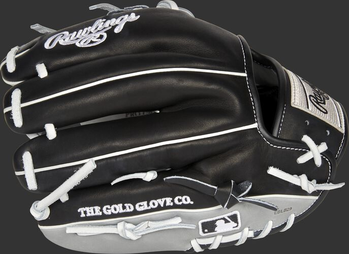 Black/gray back of a Heart of the Hide Chicago White Sox glove with the MLB logo on the pinky - SKU: RSGPRO204-2CHW