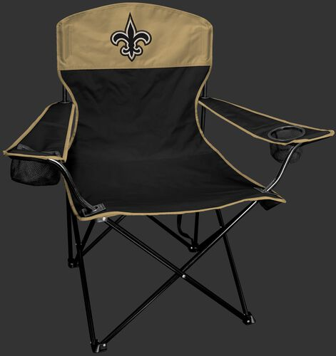 Front of Rawlings Black and Gold NFL New Orleans Saints Lineman Chair With Team Logo SKU #31021077111