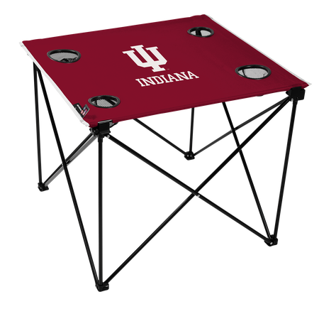 A red NCAA Indiana Hoosiers deluxe tailgate table with four cup holders and team logo printed in the middle