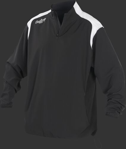 Front of Rawlings Black Adult Long Sleeve Quarter-Zip Jacket - SKU #FORCEJ-B-88