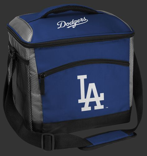 A blue Los Angeles Dodgers 24 can soft sided cooler with screen printed team logos - SKU: 10200011111