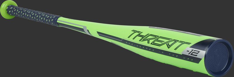 US9T12 Rawlings Threat youth bat with a green barrel, navy accents and navy end cap