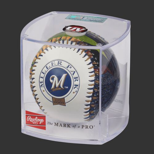 MLB Milwaukee Brewers stadium baseball in a display case