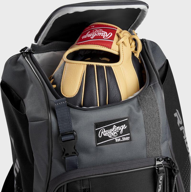 A Rawlings baseball glove in the top compartment of a Franchise baseball backpack - SKU: FRANBP-B