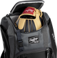A Rawlings baseball glove in the top compartment of a Franchise baseball backpack - SKU: FRANBP-B image number null