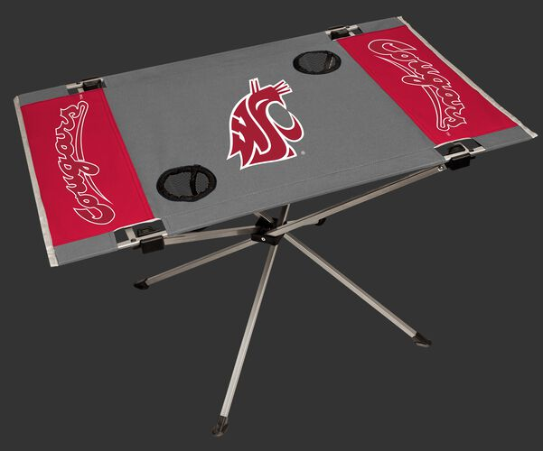 NCAA Washington Huskies Endzone table with team colors and team logos and two cup holders SKU #04053113111