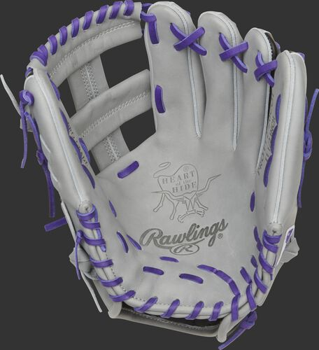 Gray palm of a Rawlings Colorado Rockies HOH glove with purple laces - SKU: RSGPROTT2-20COL