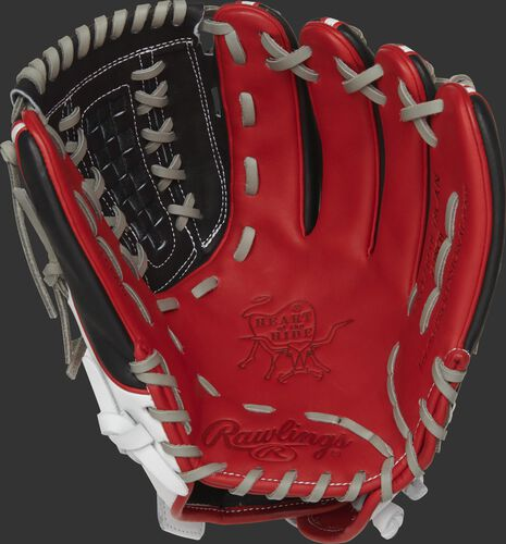 PRO716SB-18CAN Rawlings Heart of the Hide Canada softball glove with a scarlet palm, black web and grey laces