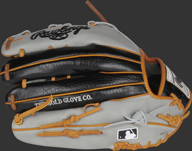 Gray/black croc embossed back of a HOH ColorSync 5.0 outfield glove with MLB logo on the pinky - SKU: PRO3030-6GC