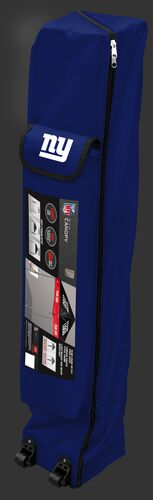 Blue wheeled carry case of a New York Giants canopy with the team logo on the outside compartment - SKU: 02231078111