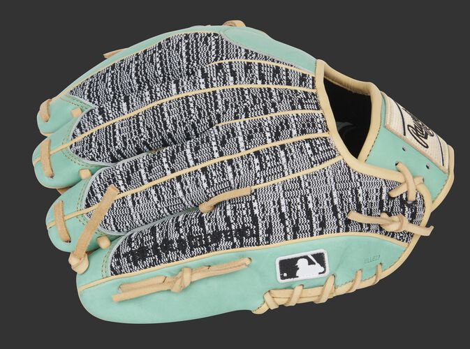 Zebra knit back of a Rawlings Pro Preferred infield glove with the MLB logo on the pinkie - SKU: PROS204-2OMZ