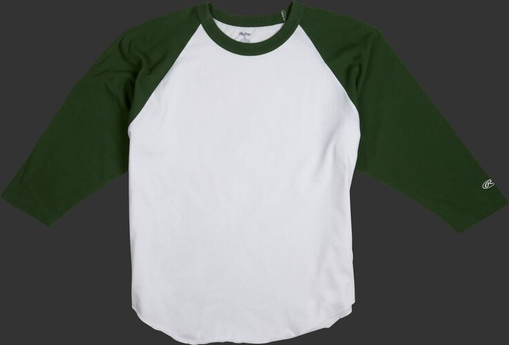 MTT3000 Adult 3/4 sleeve crew neck shirt with a white body and dark green sleeves