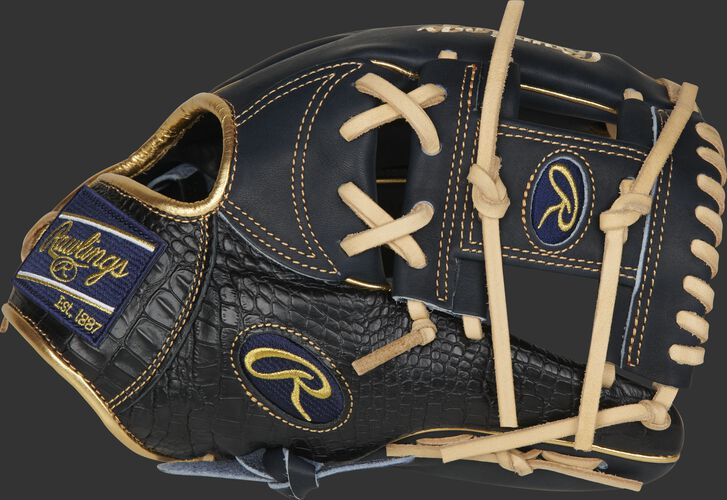 Thumb of a navy/black 2020 Heart of the Hide exclusive croc I-web glove with a navy I-web - SKU: PRONP4-2NCC