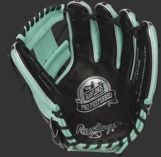 Black palm of a Rawlings Pro Preferred infield glove with a mint web, black laces and silver stamping - SKU: PROS315-2BOM