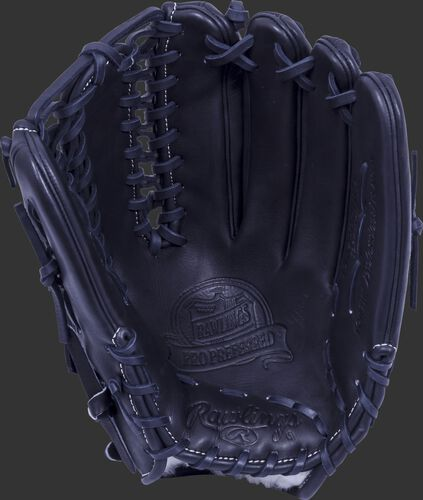 Black palm of a Rawlings Pro Preferred outfield glove with a black web and black laces - SKU: PROS601KBPRO