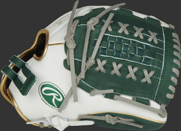Thumb of a white RLA125-18DG Liberty Advanced Color Series 12.5-inch fastpitch glove with a dark green Double Laced Basket web