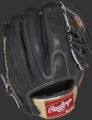 RGG205-9B 11.75-inch Gold Glove Series Modified Trap-Eze web glove with a black back and gold wrist strap