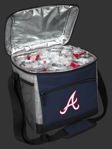An open Atlanta Braves 24 can cooler filled with ice and drinks - SKU: 10200005111