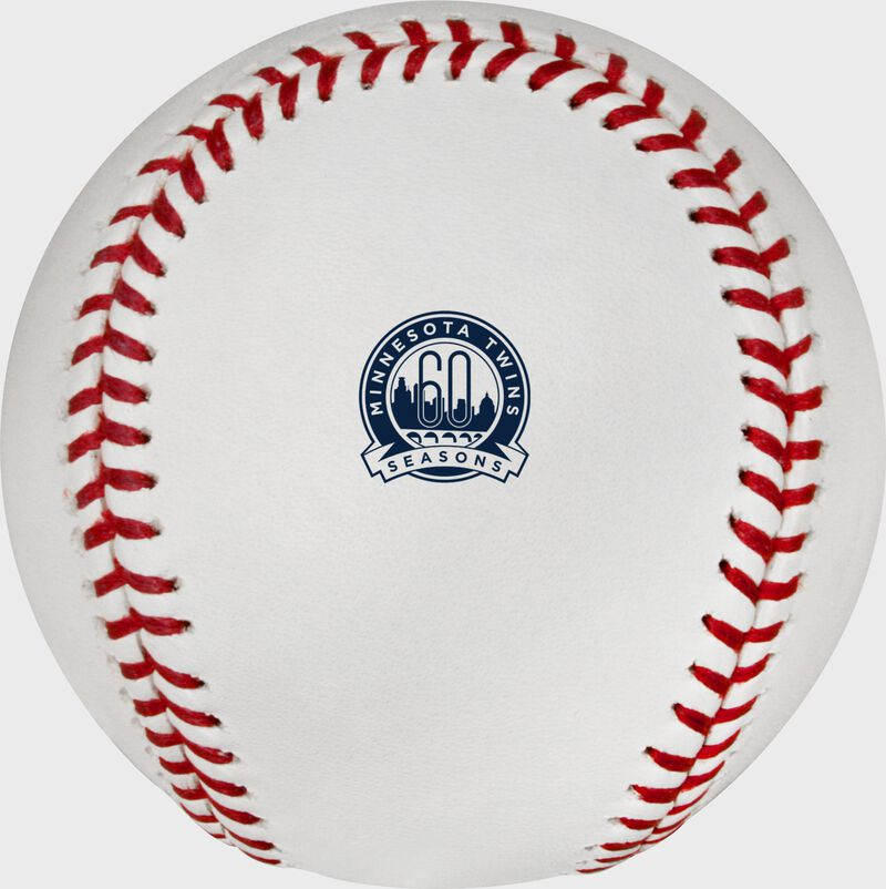 The Minnesota Twins 60th Anniversary logo stamped on a MLB baseball - SKU: ROMLBMT60