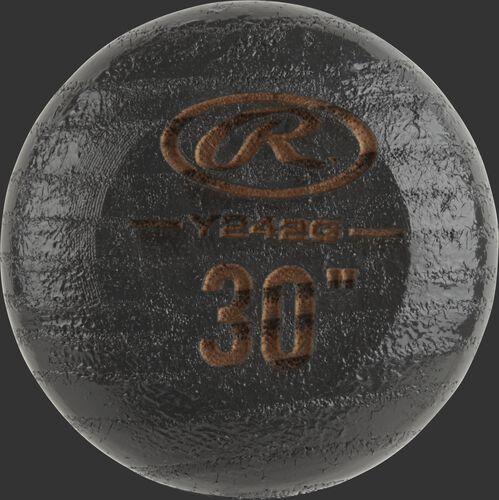 Black knob of a Y242G Rawlings youth wood bat