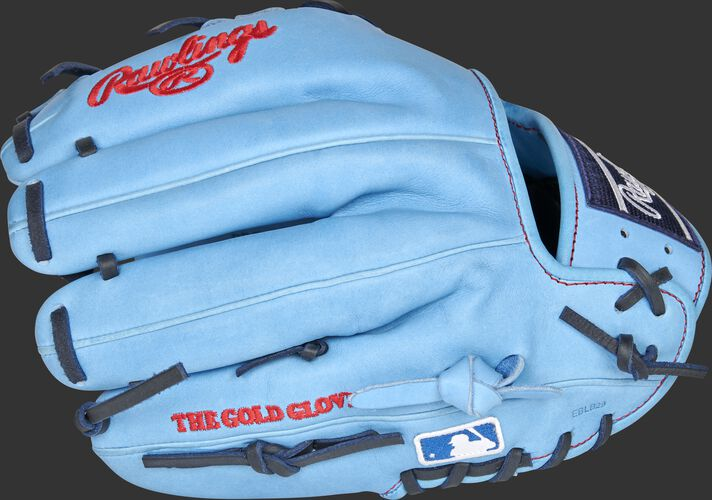 Columbia blue back of a Toronto Blue Jays Heart of the Hide infield glove with the MLB logo on the pinky - SKU: RSGPRO204-2TOR