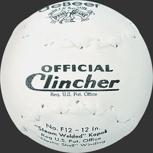 A white W10299 deBEER 12-inch Clincher softball