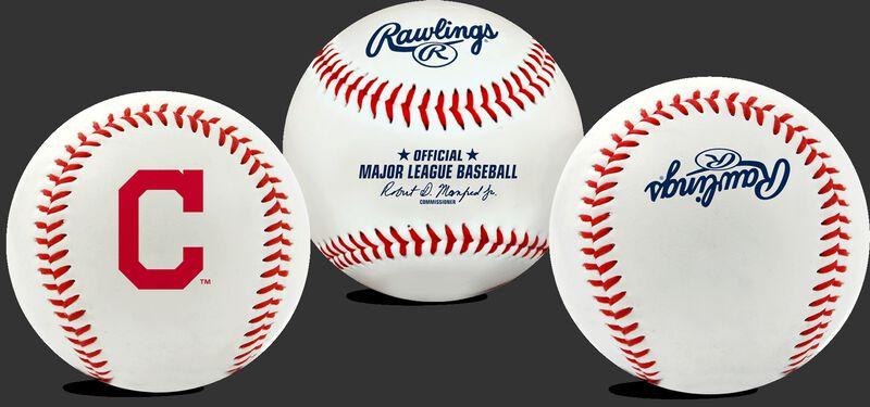 3 views of a MLB Cleveland Indians baseball