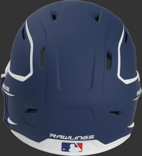Back of a MACHEXTR high performance senior MACH helmet with a matte navy/white shell and Official Batting Helmet of MLB logo
