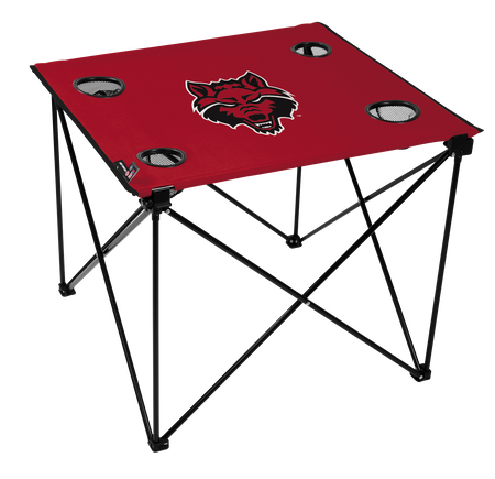 A red NCAA Arkansas State Red Wolves deluxe tailgate table with four cup holders and team logo printed in the middle