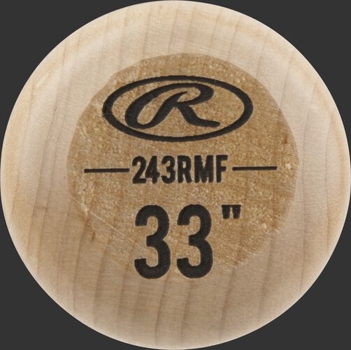 """Knob of a Rawlings Big Stick Elite Maple bat with an engraved Oval-R and 33"""" size - SKU: 243RMF"""