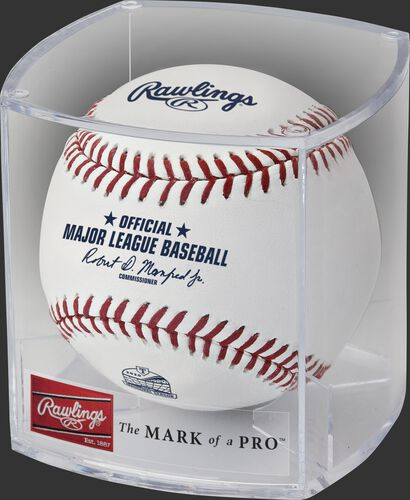 A Globe Life Field inaugural season baseball in a clear display cube - SKU: ROMLBTRIN20