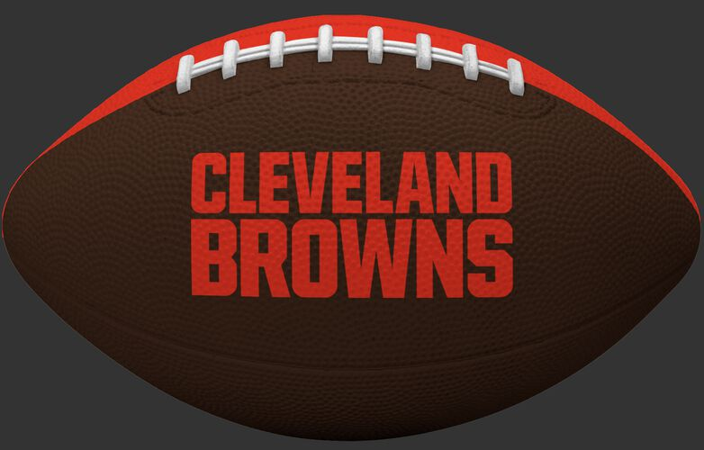 Brown side of a Cleveland Browns rubber Gridiron football with team name SKU #09501064122