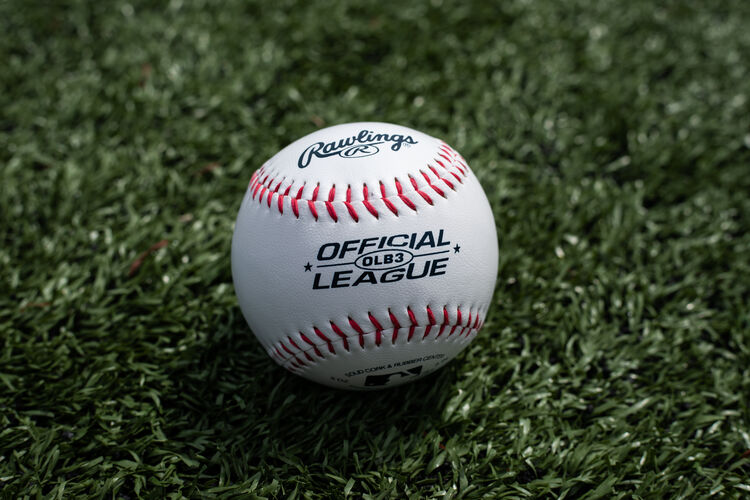 A Rawlings Official League recreational ball lying on a field - SKU: OLB3