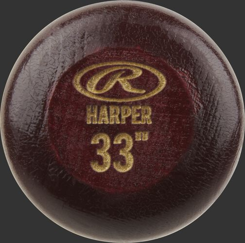 """Wine red knob of a Rawlings Bryce Harper Pro Label wood bat with an engraved Oval-R and 33"""" size - SKU: BH3PL"""
