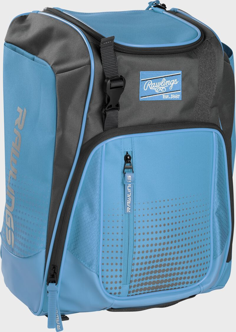 Front left angle of a Columbia blue Rawlings Franchise bag with gray accents - SKU: FRANBP-CB