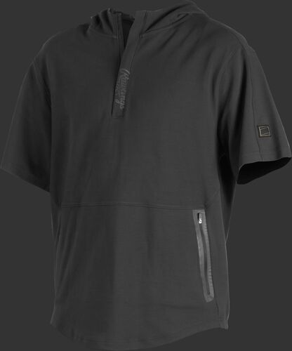 A black Gold Collection short sleeve hoodie with a 1/4 zip and gray welded zipper pockets - SKU: GCJJ-B