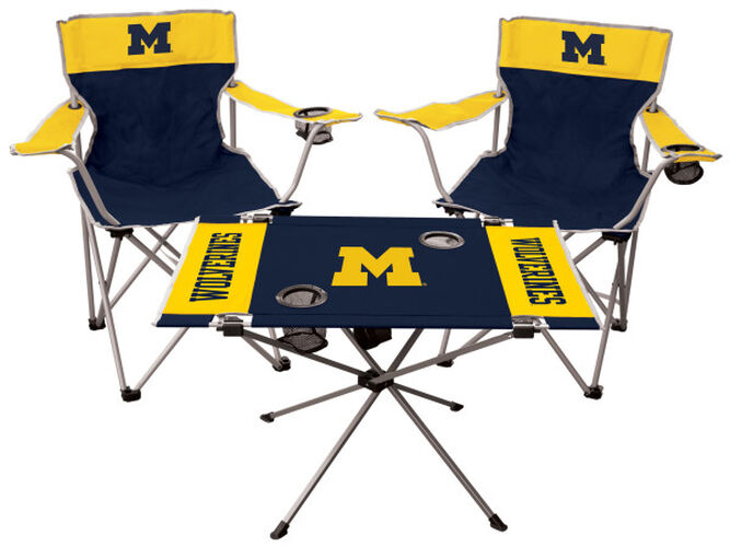 Front of Rawlings Blue and Maize NCAA Michigan Wolverines 3-Piece Tailgate Kit With Two Kickoff Chairs, An Endzone Table, And A Transport Bag With Team Logo SKU #00993083511