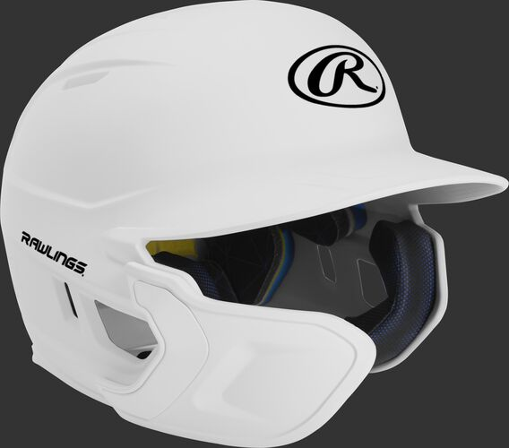 Right angle view of a matte white MACHEXTL Mach Senior helmet with Mach EXT left hand batter face guard extension