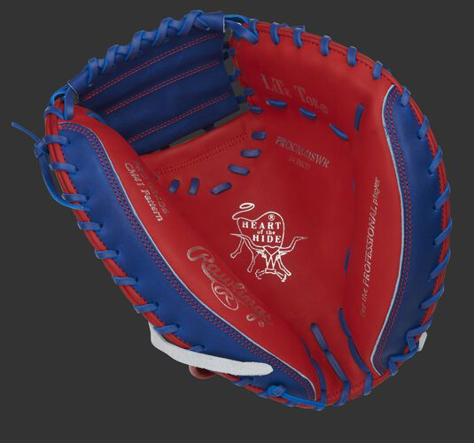 Scarlet palm of a Rawlings HOH catcher's mitt with a royal web, silver stamping and royal laces - SKU: PROCM41SWR