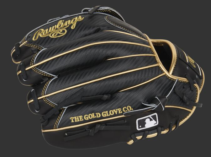 Black Hyper Shell back of a Pro Preferred infield glove with the MLB logo on the pinkie - SKU: PROS206-6BCF